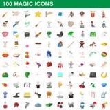 100 ícones mágicos ajustados, estilo dos desenhos animados Imagem de Stock