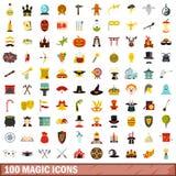 100 ícones mágicos ajustados, estilo liso ilustração stock