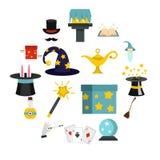 Ícones mágicos ajustados no estilo liso ilustração royalty free