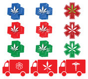 Ícones médicos 1 da marijuana Imagens de Stock