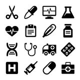 Ícones médicos ajustados ilustração royalty free