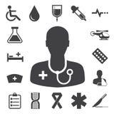 Ícones médicos ajustados. Ilustração Fotografia de Stock