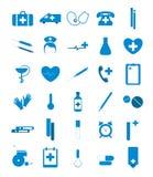 Ícones médicos azuis Fotos de Stock