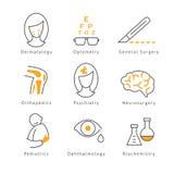Ícones médicos coloridos dos cuidados médicos Imagem de Stock
