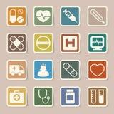 Ícones médicos da etiqueta ajustados. Ilustração ilustração stock