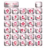 Ícones médicos do cromo Imagens de Stock
