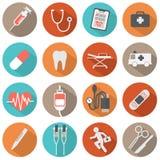 Ícones médicos do projeto liso Fotografia de Stock Royalty Free