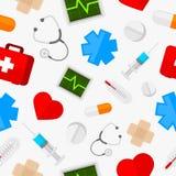 Ícones médicos do teste padrão ajustados Fotos de Stock