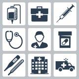 Ícones médicos do vetor ajustados Foto de Stock