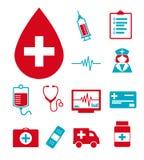 Ícones médicos do vetor ajustados criando o infographics relativo à saúde e à medicina, como a gota do sangue, prancheta, enferme ilustração stock