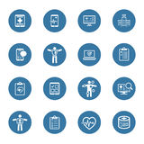 Ícones médicos & dos cuidados médicos ajustados Projeto liso Fotografia de Stock