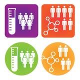 Ícones médicos dos cuidados médicos com povos Foto de Stock