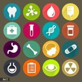 Ícones médicos lisos ajustados Fotografia de Stock
