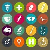 Ícones médicos lisos ajustados Foto de Stock
