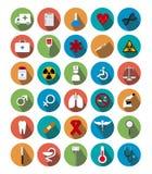 Ícones médicos lisos com sombra Foto de Stock Royalty Free