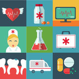 Ícones médicos lisos na moda com sombra. Vetor Imagens de Stock Royalty Free