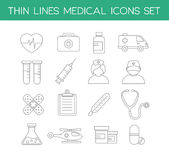 Ícones médicos na linha fina estilo do projeto Imagem de Stock