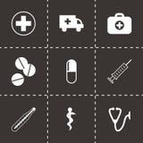 Ícones médicos pretos do vetor ajustados Fotografia de Stock