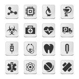 Ícones médicos retangulares Imagem de Stock Royalty Free