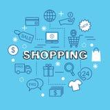 Ícones mínimos de compra do esboço Imagem de Stock
