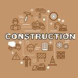 Ícones mínimos do esboço da construção Foto de Stock