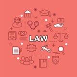Ícones mínimos do esboço da lei Imagens de Stock Royalty Free