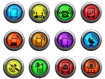 Ícones móveis ajustados Imagens de Stock