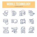 Ícones móveis da garatuja da tecnologia
