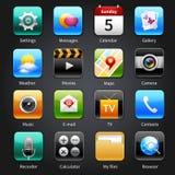 Ícones móveis das aplicações Imagem de Stock Royalty Free