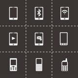 Ícones móveis pretos do vetor ajustados Fotos de Stock Royalty Free