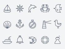 Ícones marinhos ilustração do vetor