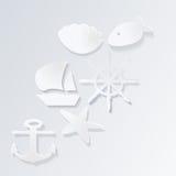 Ícones marinhos do vetor com sombra Fotografia de Stock Royalty Free