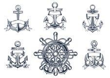 Ícones marinhos e náuticos do vintage Fotografia de Stock Royalty Free