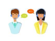 Ícones masculinos e fêmeas do avatar do centro de atendimento Fotos de Stock