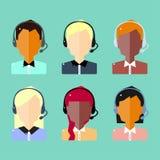 Ícones masculinos e fêmeas do avatar do centro de atendimento Imagens de Stock