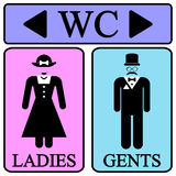 Ícones masculinos e fêmeas do símbolo do toalete Imagens de Stock