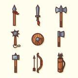 Ícones medievais das armas Imagens de Stock Royalty Free