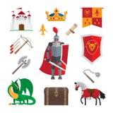Ícones medievais do reino ilustração do vetor