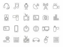 Ícones, meios, computador, vídeo, música, comunicações, telefone, contorno, monocromático Imagens de Stock Royalty Free