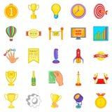 Ícones merecidos ajustados, estilo da vitória dos desenhos animados Fotos de Stock
