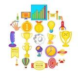 Ícones merecidos ajustados, estilo da vitória dos desenhos animados ilustração do vetor