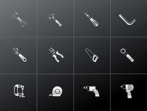 Ícones metálicos - ferramentas da mão Imagens de Stock
