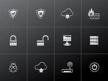 Ícones metálicos - rede informática Fotos de Stock Royalty Free