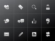 Ícones metálicos - rede social Fotografia de Stock Royalty Free