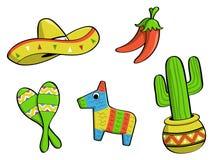 Ícones mexicanos ilustração royalty free