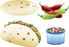 Ícones mexicanos do alimento Foto de Stock Royalty Free