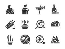 Ícones mexicanos do estilo do glyph do menu ajustados Foto de Stock Royalty Free