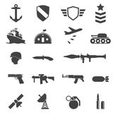 Ícones militares ilustração stock