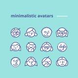 Ícones minimalistas geométricos dos avatars para a site, rede social Imagem de Stock Royalty Free