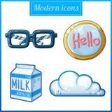Ícones modernos ajustados Fotos de Stock Royalty Free
